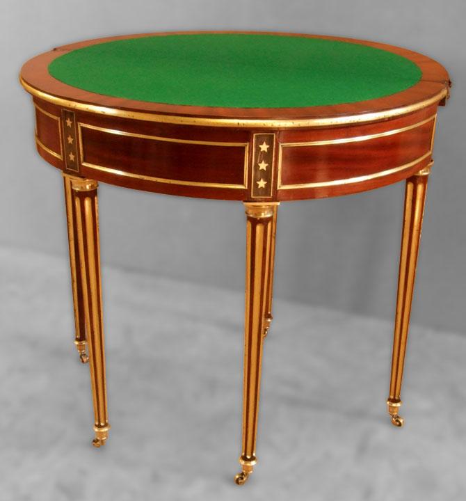 Table à jeu demi lune Louis XVI